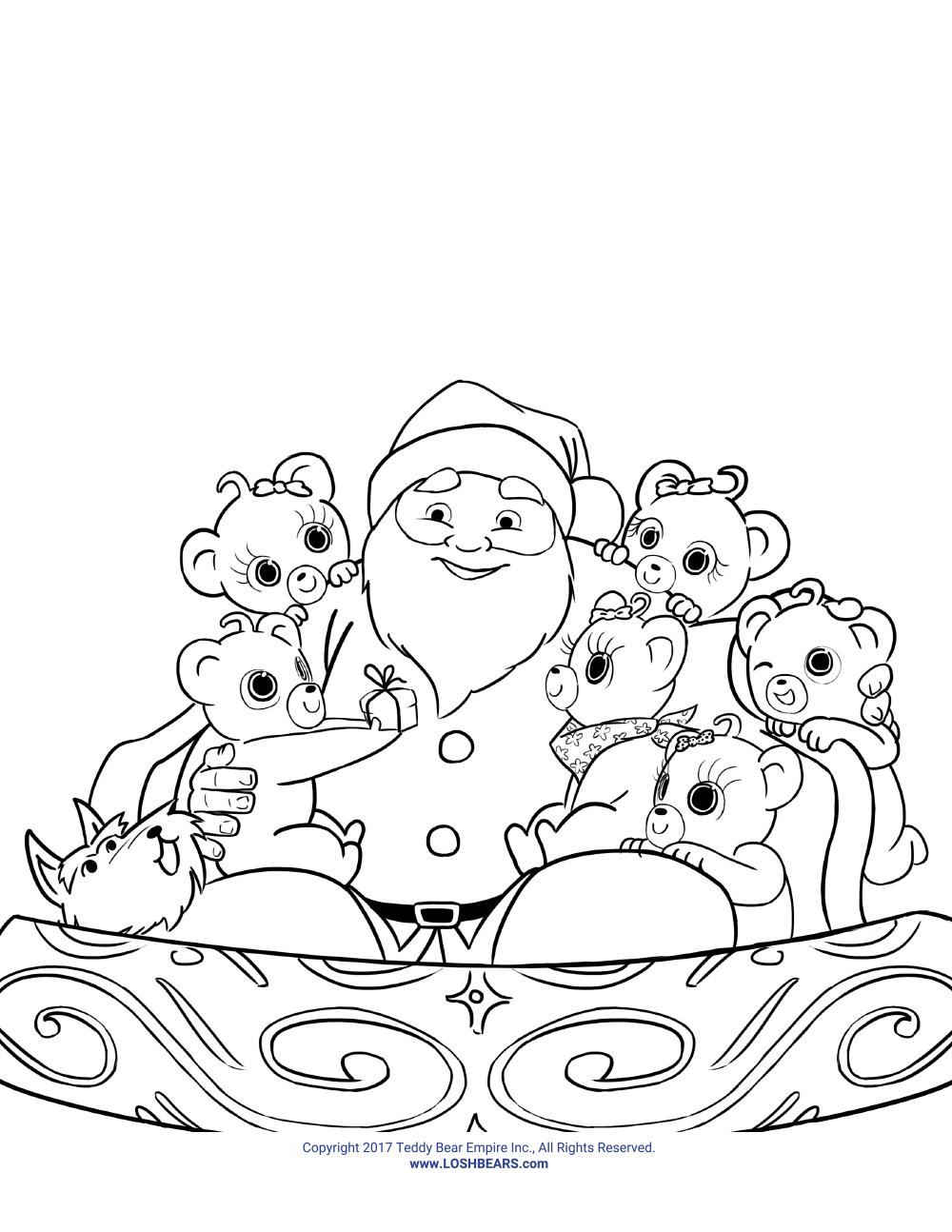 Santa colouring page 2